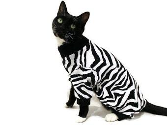 Zebra Cat Pajamas-Black and White Cat Pajamas-Cat Clothes-Pajamas for Cats-Cat Clothing-Cat Onesie-Pet Clothing-Cat Pjs-Pjs for Cats