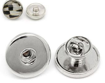 """x 1 support """"pins"""" to 19 mm silver metal snap button jewelry"""