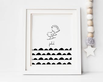 Fantail illustration, kids room decor, nursery art, monochrome, New Zealand, digital print, printable, hand drawn