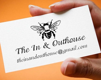 Bee custom rubber stamp great for DIY business cards