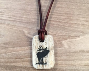 "Elk deer antler leather necklace ""Antler Jewelry"""