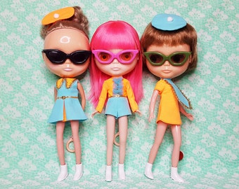 MADE-TO-ORDER Colourburst Collection — retro-style romper, dresses and mini-berets in robin's egg blue and orange — pick your pieces