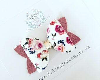 Floral and Dusky Pink Hair Bow