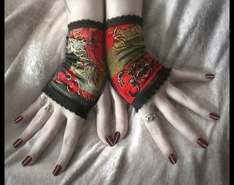 Rosegarden Funeral Velvet Fingerless Gloves | Black Red Silver Moss Brown w/ Gold Scroll & Flowers | Vampire Wedding Dark Fusion Bellydance
