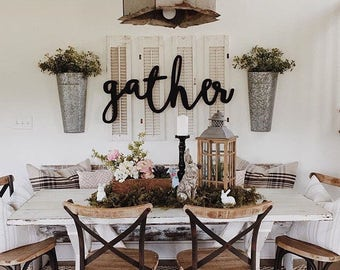 Gather Word Wood Cut Wall Art Sign Decor