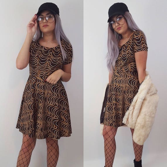 60's Handmade Psychedelic Pattern Dress - Vintage Squiggle Line Brown and Black Mod Dress - Womens Medium Spring Summer Unique Fun Mini