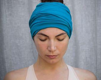 Teal Headband  Bohemian Head Scarf  Hair Wrap Wide Yoga Headband Boho Head Wrap