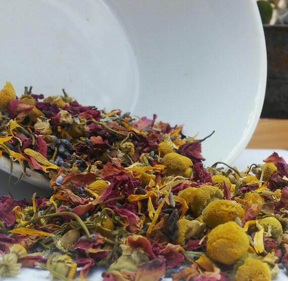 Organic Bath Tea and Face Steam - Bath Soak, Facial, Bath Spa, Foot - Lavender, Rose, Chamomile & Calendula, Flower Facial