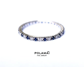 Sapphire and Diamond Eternity Ring . 18k 14k Gold . Half or Full . Stacking Ring . Wedding Band . Blue Sapphire Band . Yellow White Rose