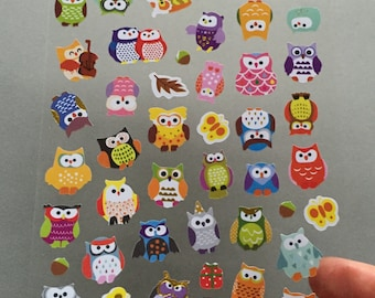 Owls Scrapbooking Stickers, Owl Card Embellishments, Owl Planner Stickers, Envelope Seals, Party Favours, Reward Sticker, Hoot Mini Stickers