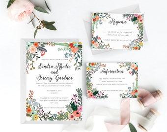 Floral Wedding Invitation Suite, Wedding Invitation Printable, Invitation Set, Wedding Invitation Rustic, PDF Letter or A4 (Item code: P774)