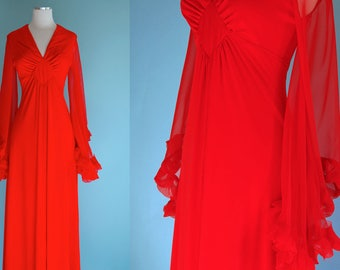 1970s Red Maxi Dress with Sheer Angel Sleeves // 70s Empire Waist Long Dress with Dramatic Hanging Sleeves
