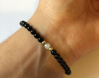 Black Onyx & Rose Quartz Beaded Bracelet