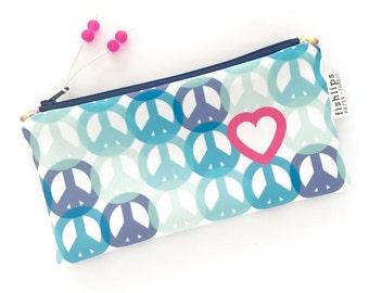 Peace and Love Recycled Zipper Pouch, Hippy Bag + Glass Bead Tassel, Handmade Eco Pencil Bag, Blue Gift for Women, Peace Sign Design, Clutch