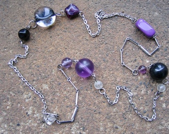 Eco-Friendly Statement Necklace - 'Til the End of Time - Recycled Vintage Silvertone Chain, Glass & Plastic Beads in Purple, Clear and Black