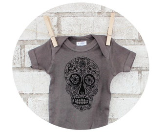 Sugar Skull Baby Onepiece, Day of the Dead, Infant Bodysuit, Cotton Clothing, Dark Grey Gray, Short Sleeved, Punk Rock, Screenprinted Shirt