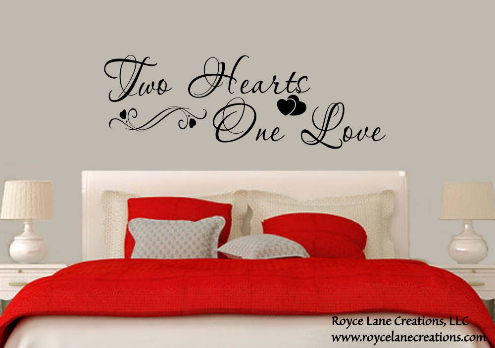 wall decals for master bedroom bedroom wall decal two hearts one bedroom decal 20083