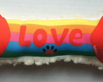 Dog Bone TOY, Rainbow Love, cute dog toy gift, unique dog gift, Dog bone, squeaker dog toy, plush dog toy