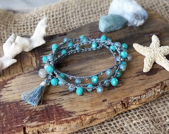 Blue and Gray Crocheted Bracelet Wrap with Tassel, Boho Crocheted Bracelet, Stackable Bracelet, Gift for Women, Gift Under 40, Boho Jewelry