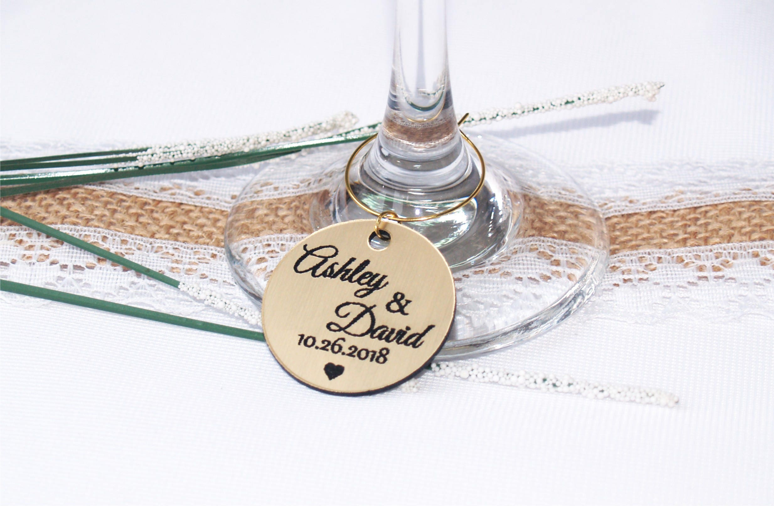 Wedding gold wine charms, Anniversary wine charms, Wine glass charms ...