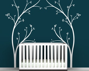 Tree Canopy Bed Headboard Wall Decal - Fun, novelty tree decal design - Modern Nursery Decor