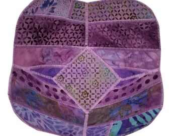 Decorative Bowl in Lavender Batik Fabrics, Reversible