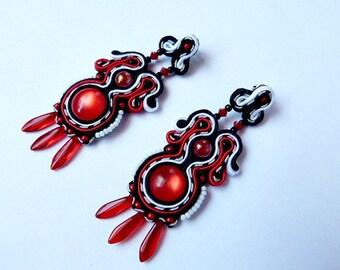Long dangle boho earrings, clip on soutache earrings, statement drop earrings, tribal earrings, flamenco red black earrings, big earrings