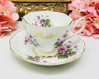 "Queen Anne ""Mother"" teacup and saucer."