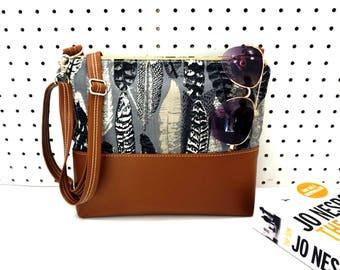 Crossbody Bag, Feather Crossbody Bag, Crossbody, Crossbody with Vegan Leather Trim, Zipper Shoulder Bag, Gift for Her