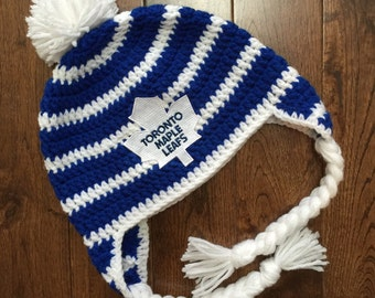 Stripped Toronto Maple Leafs Crochet Hat with NHL Patch/ Photo Prop (newborn-adult: made to order)