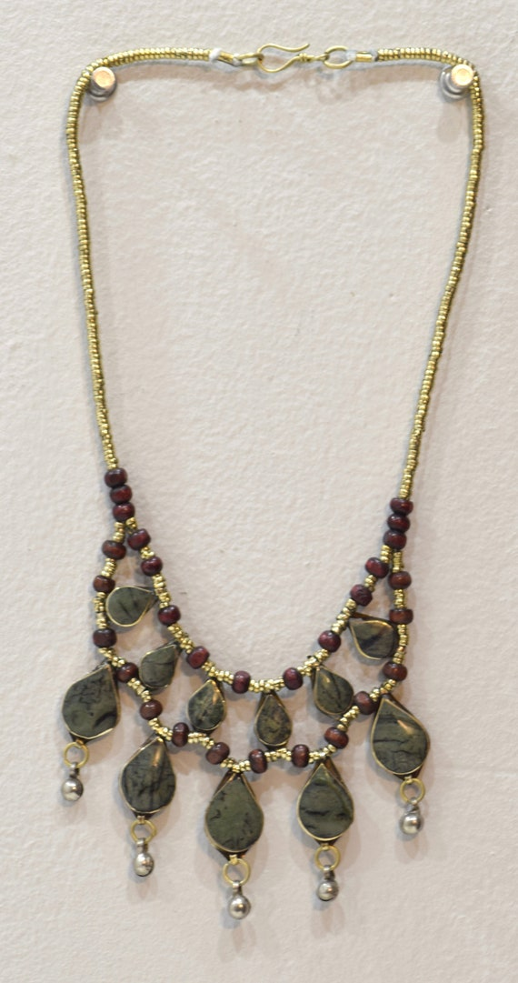 """Necklace Middle East Green Stone Tribal Necklace 22"""""""