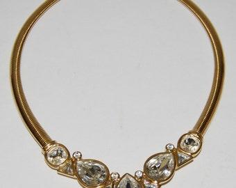 Vintage TRIFARI Goldtone Necklace with Rhinestones