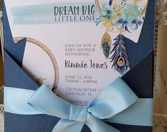 BOHO Themed Baby Shower Invitation -  Baby Shower Dreamcatcher Theme - Peacock Feathers -  Custom Die Cut