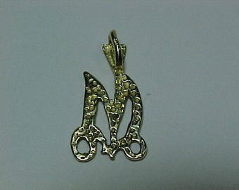 10k yellow gold initial*M*--ship to Canada or the continental US|A
