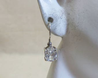 Vintage Sterling  Big Oval Cubic Zirconia Pierced Earrings