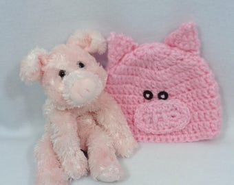 Matching Baby Pig Hat with Small Stuffed Pig, Home for the Hospital Crochet Set for Baby, Baby Shower Gift, Newborn Gift Set Pink Pig Beanie