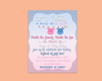 It's Twins Shower invitation