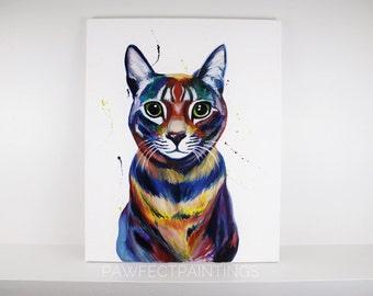 Colorful pet portrait, pet portrait, pet painting, dog painting, custom pet portrait, custom pet painting, custom dog painting, custom cat