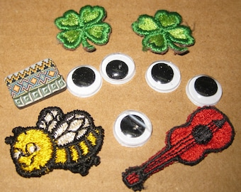 Craft Supply Bee Guitar Clover Leaf Appliques Eyes Lot