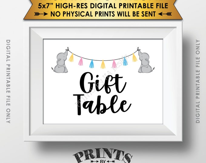 """Elephant Baby Shower Gifts Table Sign, Cards & Gifts Table Sign, Gifts Sign, Neutral Baby Shower Decor, Instant Download 5x7"""" Printable Sign"""