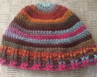 Adult Winter Hat, Teen Hat,  Adult Hat, Multicolored hat, winter Accessory, Ski Hat, striped Hat, Winter Hat, Crochet Hat, Colorful Hat, Hat
