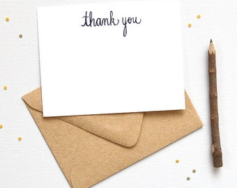 Simple Rustic Chic Thank You Cards | Artist Hand-lettered Rustic Thank You Notes | Boxed Set of 20