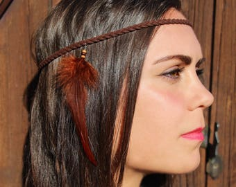"Brown cock feather gift Christmas woman - ""squaw"" leather braided headband"
