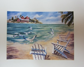 Ocean Breezes sea scape Adirondack Chairs ACEO - Florida ocean island 765 seabreeze tropical watercolorsnmore