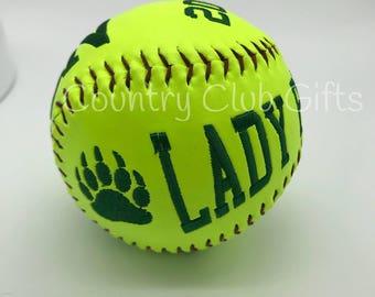 Personalized Softball | Softball Coach | softball decor | softball Mom | embroidered Softball | custom softball, unusual softball gift