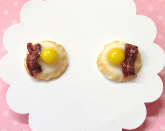 Bacon and Egg Earrings, Food Earrings, Stud Earrings, Miniature Food Jewelry, Fun Earrings, Nickel Free, Funny Friend Gift, Bacon Earrings