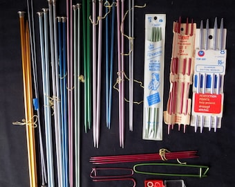 Twelve + Pairs  Vntg. Aluminum Knitting Needs, Beginnger's Lot, Lots Included