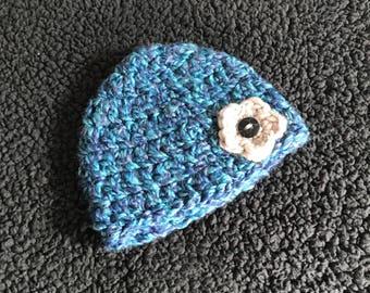 Newborn Baby Hat | Newborn Baby Beanie | Baby Girl Gift | Blue Baby Hat with Flower