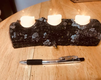 Oak Log led tea light holders