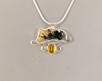 Hematite Pendant, Hematite and Citrine Pendant, Citrine Pendant, Crystal Pendant, Sterling Silver Necklace